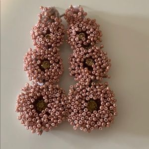 Hand beaded pink dangle earrings with gold stones